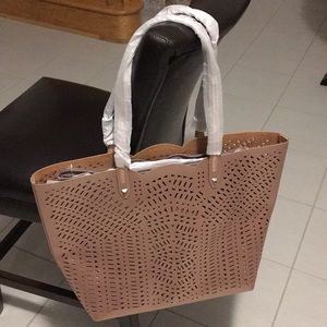 Stella&dot bronze perforated leather tote